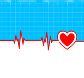 Electrocardiogram with heart silhouette and copy-space.Useful as Royalty Free Stock Photo