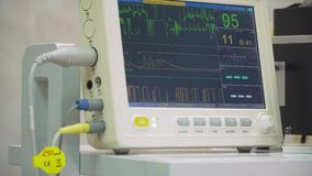 Cardiac monitor in operating room stock video