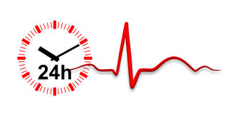 Electrocardiogram. Illustration of an electrocardiogram and clock for long-time electrocardiogram Royalty Free Stock Images