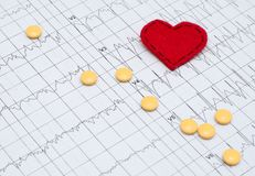 Electrocardiogram on paper. Tablets lie on an EKG. Red heart mad stock image