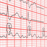 Electrocardiogram Pounds. Electrocardiogram displaying pounds in place of heart beats Stock Photography
