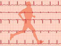 Electrocardiogram and running man Stock Photos