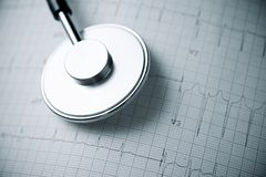 Electrocardiogram and stethoscope. Close up of an electrocardiogram in paper form and a stethoscope royalty free stock image