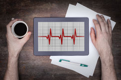 Electrocardiogram on a tablet - Concept of healthcare Stock Images