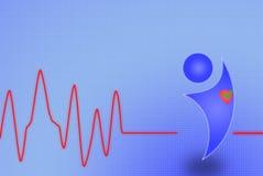 Electrocardiograma con el hombre y el corazón Imágenes de archivo libres de regalías