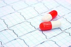 Electrocardiograma y cápsulas Fotografía de archivo