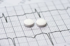 Electrocardiograph and Aspirin. Two aspirin tablets on a patient electrocardiograph Stock Photos