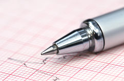 Electrocardiograph with pen Stock Images