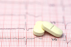 Electrocardiograph with pills Royalty Free Stock Image