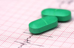 Electrocardiograph with pills Stock Images