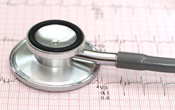Electrocardiograph with stethoscope Stock Photos