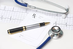 Electrocardiograph and Stethoscope Royalty Free Stock Photo