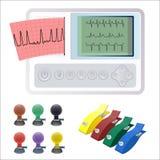 Electrocardiography ECG or EKG machine recording electrical activity of heart. Using electrodes placed on skin. Electrocardiographs makes electrocardiogram Stock Photos