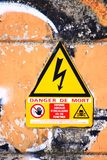 Danger sign of death by electricity in triangular shape royalty free stock images
