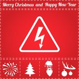Electrocution Icon Vector. And bonus symbol for New Year - Santa Claus, Christmas Tree, Firework, Balls on deer antlers stock illustration