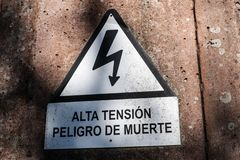 Electrocution sign warning of the danger of electrocution stock images