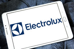 Electrolux home appliance company logo. Logo of electronics and home appliance company Electrolux on samsung tablet. Electrolux is a Swedish multinational home Royalty Free Stock Image