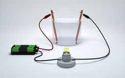 Electrolysis of water with battery and bulb on white background.