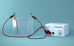 Electrolysis of water. Educational chemistry.