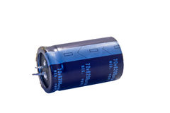 Electrolytic Capacitor. Electronic components, electolytic capacitor laying on side Royalty Free Stock Photo