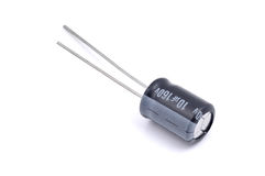 Electrolytic capacitor  on white Stock Photos
