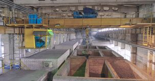Beam crane in the production, beam crane. Industrial interior at the factory