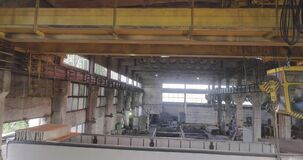 Beam crane. Beam crane in the production, Industrial interior at the factory