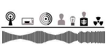 Electromagnetic spectrum. Electromagnetic Waves: Radioactive Gamma Rays Spectrum royalty free illustration