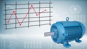 Electromotor en grafiek van prijsveranderingen Royalty-vrije Stock Foto's