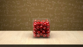 Electron box in front of physics board. Royalty Free Stock Image