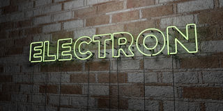 ELECTRON - Glowing Neon Sign on stonework wall - 3D rendered royalty free stock illustration Stock Images