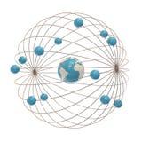 Electron paths around the nucleus. Multiple electron paths around the abstract Earth model Royalty Free Stock Photo