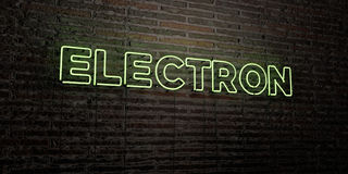 ELECTRON -Realistic Neon Sign on Brick Wall background - 3D rendered royalty free stock image Royalty Free Stock Photography