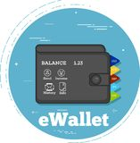 Electron Wallet concept in line art style. Electron Wallet trendy concept in line art style. Banking and finance, internet payments, business technology. Wallet Royalty Free Stock Photo