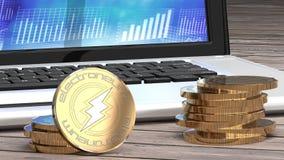 Electroneum, bitcoin alternatywa, złota moneta i laptop, ilustracja wektor