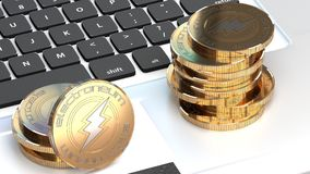 Electroneum, bitcoin alternatywa, złota moneta i laptop, ilustracji