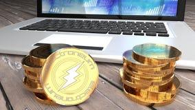 Electroneum, bitcoin alternatywa, złota moneta i laptop, royalty ilustracja