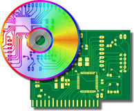 Electronic. CD a disk and an electronic payment stock illustration