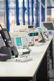 Electronic. Oscilloscope.Electronic devices on the work table Stock Photo