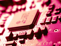 Electronic. Red electronic board with sub processor Stock Photos