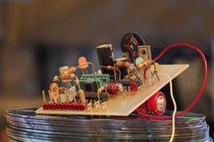 Electronic. Circuit with tranistor resistor LED royalty free stock photos