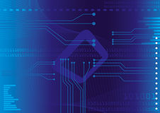 Electronic. An electronic circuit board on blue background Royalty Free Stock Images