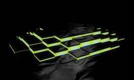Electronic abstract yellow stairs, 3d render. Working royalty free illustration