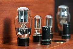Electronic amplifier with bulb lamp close-up Royalty Free Stock Image