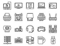 Electronic and analog devices. basic set of linear icons Stock Images