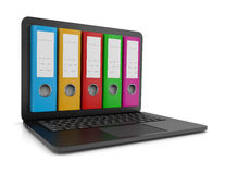 Electronic Archive. Colorful Binders Coming Out from a Laptop Computer Screen 3D Illustration on White Background Stock Photography