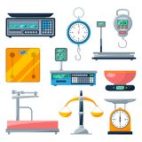 Electronic, balance and other types of scales. Vector illustrations isolate Royalty Free Stock Photo