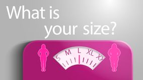 Illustration of scales with a scale in the form of clothing sizes for women. stock illustration