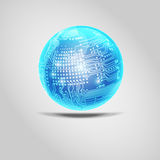 Electronic Ball. Vector shiny blue ball . Digital electronic circuit board combined with glossy ball vector illustration