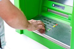 Electronic banking, ATM. Electronic banking, credit card by ATM royalty free stock photos